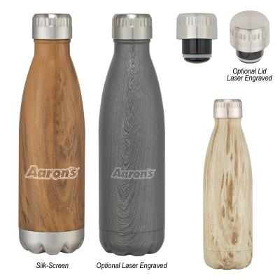 16 Oz. Swig Stainless Steel Woodtone Bottle