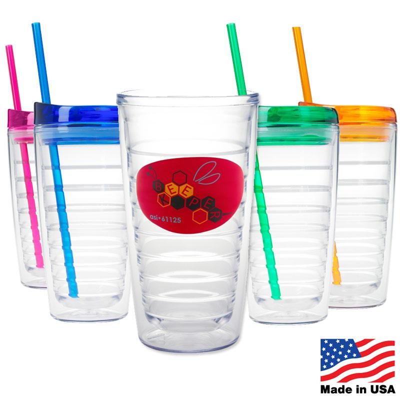 Triton 16 oz. Double Wall Tumbler with Straw Top