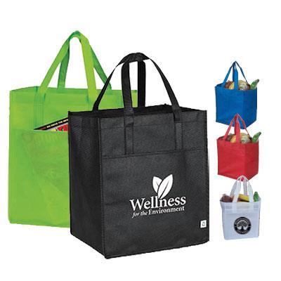 "10"" Gusset Eco Grocery Tote with Pocket"