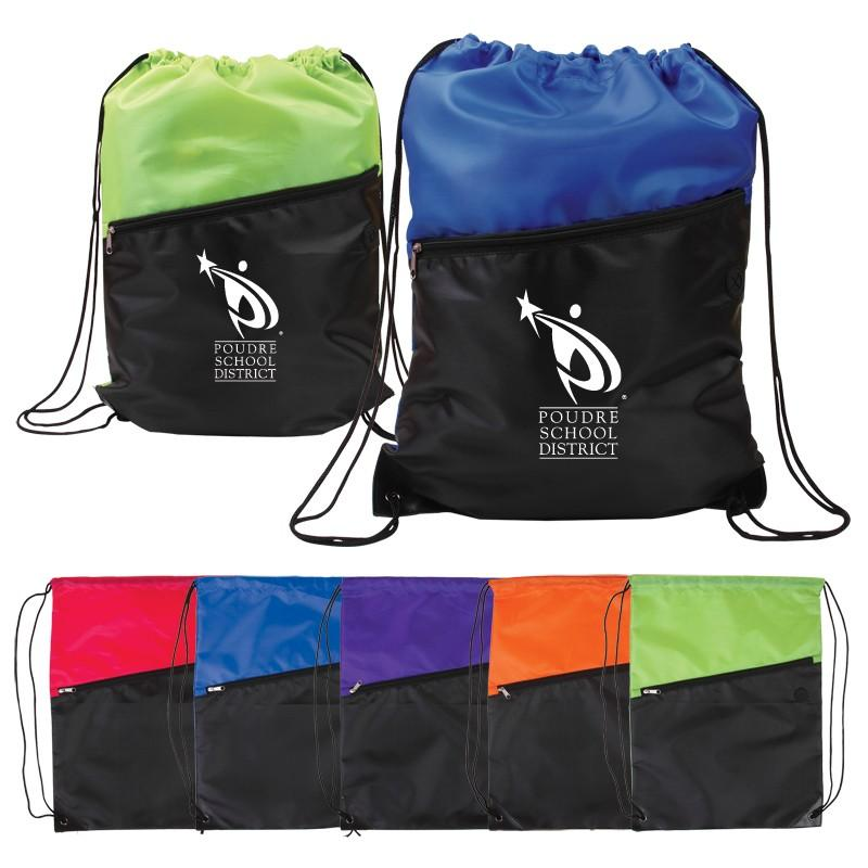 Two-Tone Nylon Drawstring Backpack with Zipper