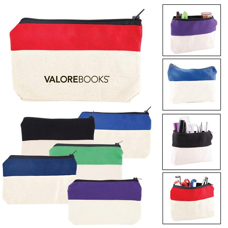 Two-Tone Zip Cotton Valuables/School Supplies Pouch