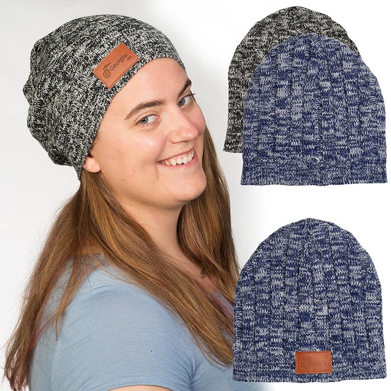 Heathered Knit Beanie with Leather Patch