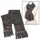 Heathered Knit Scarf with Leather Patch